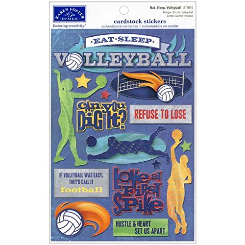 Volleyball Scrapbooking - KAREN FOSTER Cardstock Stickers-Eat, Sleep, Volleyball
