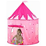 Princess Castle Play Tent for Girls Toys Best Christmas Birthday Gift, Your Baby will Enjoy this Foldable Play playhouse/Ball Pit for Indoor & Outdoor Use - Pink Castle