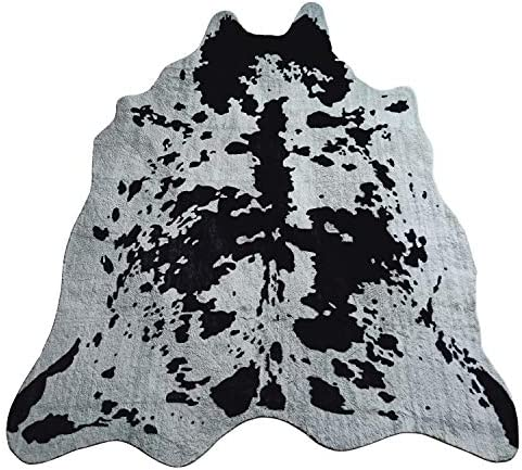JACCAWS Faux Fur Black and Gray Cowhide Rug Large,4.6 x 6.6 Feet Cow Skin Rug,Brindle Cow Print Rug Animal Hide Rug with Non-Slip Backing. 4.6 x 6.6 , Black and Gray