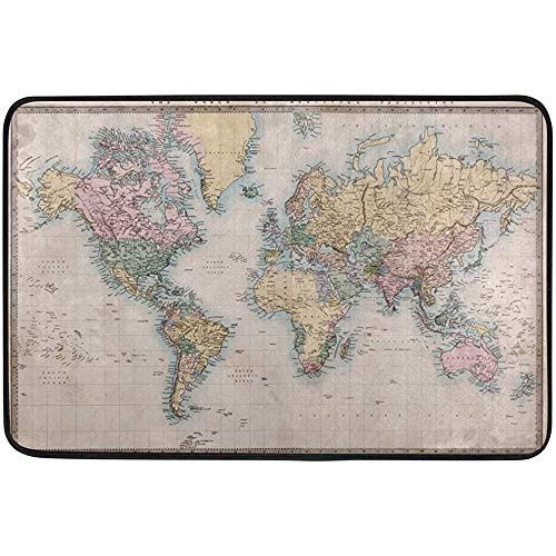 Starochi Antique World Map Doormat Indoor Outdoor Entrance Floor Mat Bathroom 24 x 16 inch by Starochi