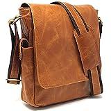 PURPLE RELIC: Rustic 11-inch Leather Man Bag iPad Bag Tablet Laptop Messenger Satchel Sling City Flapover Bag Man Handbag Crunch