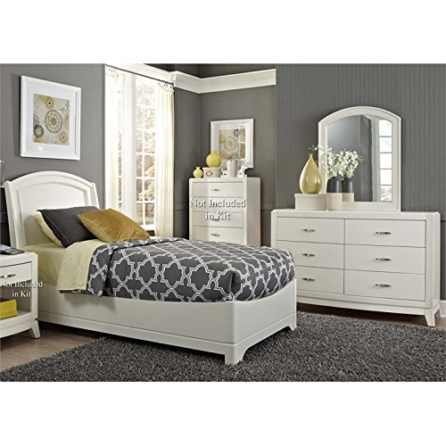 Liberty Furniture Avalon II 3 Piece Twin Panel Bedroom Set in White