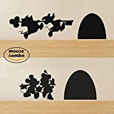 """BATTOO Mouse Combo Mouse House Wall Decal(9.5""""wX2.5""""h+6.5""""wx2.5""""h,black)"""