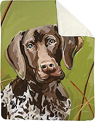 CC Home Furnishings Brown and Green Baxter The German Shorthair Throw Blanket 60 x 50