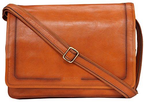 Banuce Vintage Leather Messenger Bag for Men 14 Laptop Business Crossbody Shoulder Satchel Bag by Banuce (Image #1)