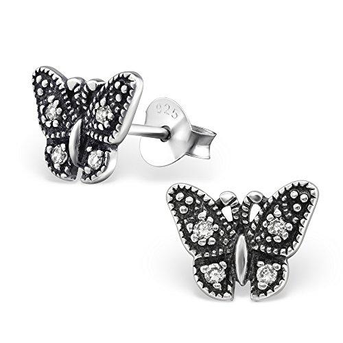 925 Sterling Silver Hypoallergenic Oxidized Crystal CZ Butterfly Stud Earrings for Women or Girls 30802
