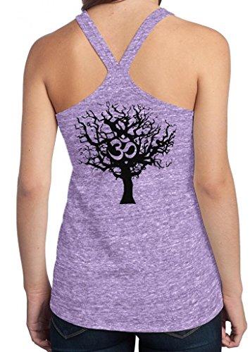 Yoga Clothing For You Ladies Black Tree of Life T-back Tank, Medium Eggplant (back print)