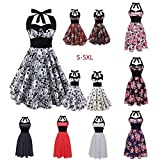 Search : 50s 60s ROCKABILLY DRESS Skull Print Swing Pinup Retro Housewife Party Dress