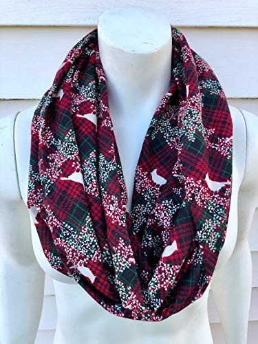 red and green christmas infinity scarf