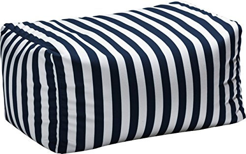 Outdoor Striped Bean Bag Ottoman, Comfortable and Modern, Side-Table, Extra Seat, Fade, Mold, Stain, UV, and Weather Resistant Outer Cover, Inner Liner, Navy Striped by Jaxterrific (Image #1)'