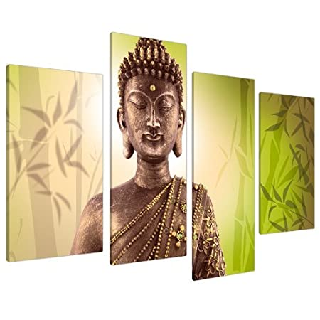 Large Buddha Canvas Pictures Wall Art Prints Lime Green 130cm XL ...