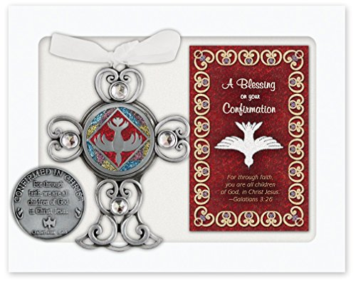 Cathedral Art QP430 Confirmation Gift Set, Wall Cross with Blessing Card