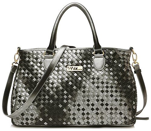 NNEE Medium Hand Woven Leather Tote Bag Satchel with Multiple Pocket Design - Silver Black
