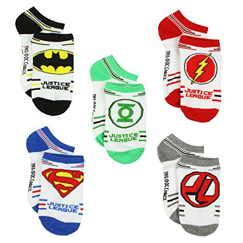 Justice League Boys 5 pack Socks (9-11 (Shoe: 4-10), Heroes - League Justice Shoes