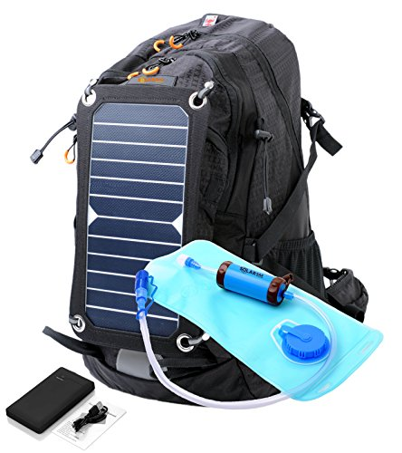 SolarSak Water Filtering Solar Hydration Backpack with 10,000mah Battery Pack & 7W Sun Piece Panel - 2L Hydration Bladder & Sun Straw Water Filter