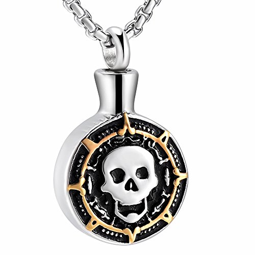 Skull Head Cremation urn Necklace Memorial Jewelry Stainless steel Ashes Keepsake Funeral Casket (Silver with Gold)