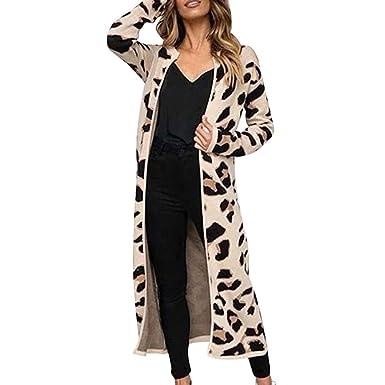Darringls Navidad Abrigo Mujer Elegantes,Chaqueta Estampado de Leopardo Cárdigan de Punto Abrigos Elegantes SeccióN Larga Parka Moda para Mujer: Amazon.es: ...