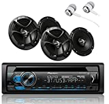 Pioneer DEH-S4100BT Single DIN Bluetooth in-Dash CD USB MP3 AUX AM/FM MIXTRAX Pandora Spotify Android Car Stereo Receiver with 2 Pairs JVC 6.5' 300W 2-Way Coaxial Car Speakers/Free ALPHASONIK Earbuds