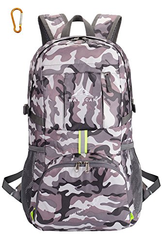 WALUCAN Lightweight Foldable Packable Durable Travel Hiking Backpack Daypack LARGE (Camouflage Hiking Backpack)
