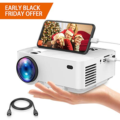 Movie Projector, DBPOWER Portable Mini Projector 2400lux with OSD Technology Directly Synchronizing Smart Phone Screen,176'' Display, 1080P/HDMI/VGA/USB/TV Box/Laptop/DVD/External Speaker Supported