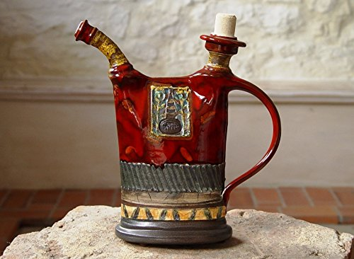Red Pottery Pitcher, Earthen jug with hand painted decoration, Water pitcher, Wheel (Hand Painted Jug)