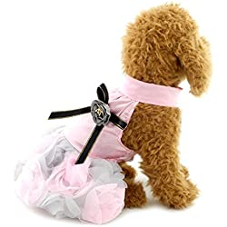 SMALLLEE_LUCKY_STORE Princess Tutu Doggy Party Skirts with Bow Pet Pleated Clothes Formal, X-Small, Pink
