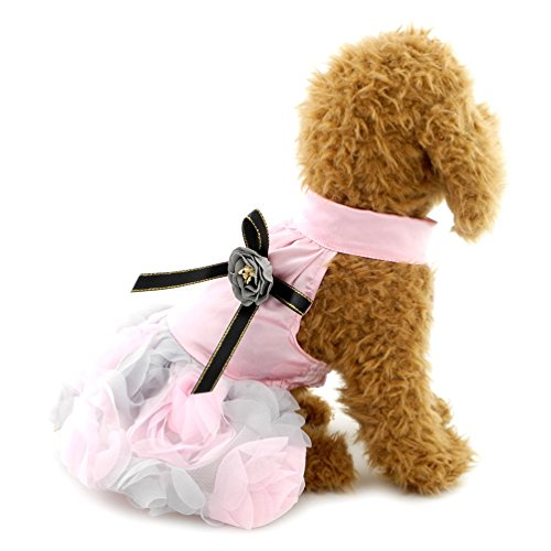SMALLLEE_LUCKY_STORE Small Dog Party with Bow tie Princess Tutu Dog Clothes Formal Skirt, X-Large, Pink ()
