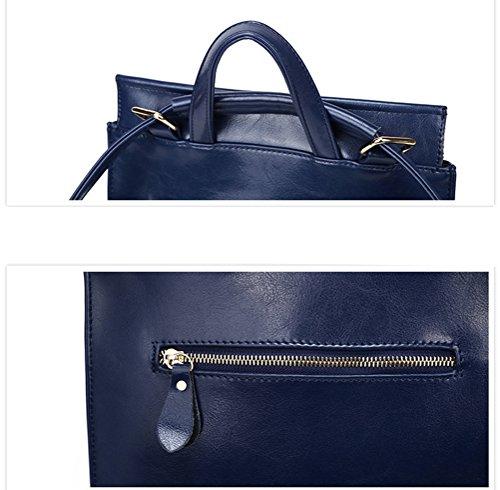 Bolsa Mujer Mochila de Crossbody Azul Mujer Bolso hombro Cuero negro de 47nBE