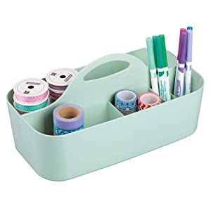 mDesign Plastic Portable Craft Storage Organizer Caddy Tote, Divided Basket Bin with Handle for Craft, Sewing, Art Supplies - Holds Paint Brushes, Colored Pencils, Stickers, Glue - Large - Mint Green