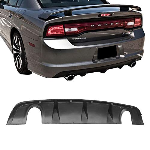 Rear Bumper Diffuser Fits 2012-2014 Dodge Charger SRT | Factory Style PP Splitter Spoiler Valance Chin Diffuser Body kit by IKON MOTORSPORTS | 2013