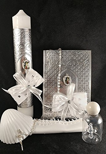 Guardian Angel Silver Baptism Candle Set - Party Pack - Baptism Accessory. -