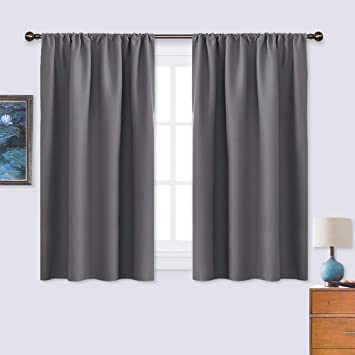 NICETOWN Grey Window Curtains for Bedroom - Home Decoration Thermal  Insulated Rod Pocket Blackout Blinds & Drapes for Small Windows (Gray, 2  Panels, ...