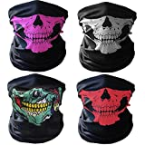 GAMPRO 4 Pcs Breathable Seamless Tube Skull Face Mask, Dust-proof Windproof Motorcycle Bicycle Bike Face Mask for Cycling, Hiking, Camping, Climbing, Fishing, Hunting, Motorcycling (1 Bundle)