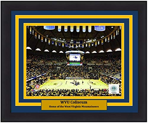 "University of West Virginia WVU Coliseum 8"" x 10"" Framed and Matted College Basketball Stadium Photo"