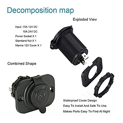 FENGWANGLI Cigarette Lighter Socket Car Marine Motorcycle ATV RV Lighter Socket Power Outlet Socket Receptacle 12V DC Flush Mount with Wire Waterproof Plug: Sports & Outdoors