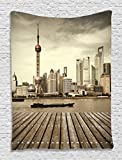 Shanghai Pudong Modern City Skyline China Sepia Photography Digital Printed Tapestry Wall Hanging Wall Tapestry Living Room Bedroom Dorm Decor, Beige Taupe