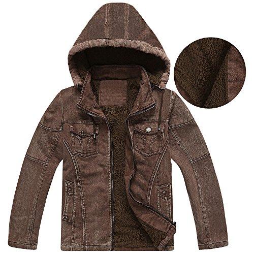 Amcupider Big Boys Denim Fleece Winter Coat with Detachable Hood Dark Brown L (tag xl)