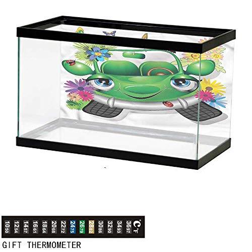 bybyhome Fish Tank Backdrop Cars,Ecology Cartoon Car Character,Aquarium Background,60