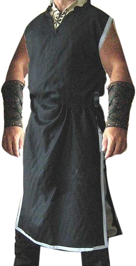 Huateng Disfraz de túnica vikinga Medieval para Hombre ...