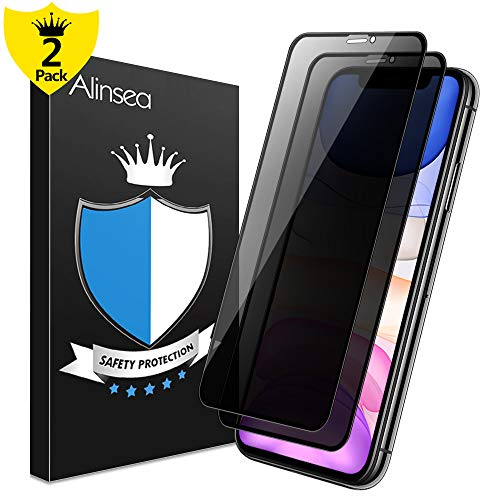 Alinsea [2 Pack] Privacy Screen Protector Compatible for iPhone 11/ iPhone XR [Case Friendly, Full Coverage] Tempered Glass [Face ID Compatible] [Not for iPhone 11 Pro/X/XS] [Full Adhesive] (Best Way To Fix Iphone Screen)