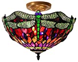 Tiffany Style Dragonfly Ceiling Lamp
