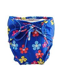Blue, Adjustable Infant Swim Diaper with Ties, Size Medium [Flowers]