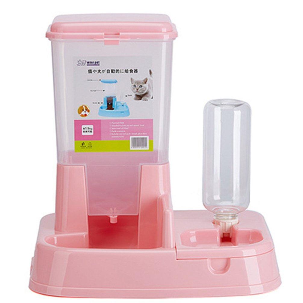 LA VIE Distributore Automatico di Acqua e Cibo per Cani Gatti 2 in 1 Pet Feeder Automatic Pratico per Piccoli Animale Domestico Rosa