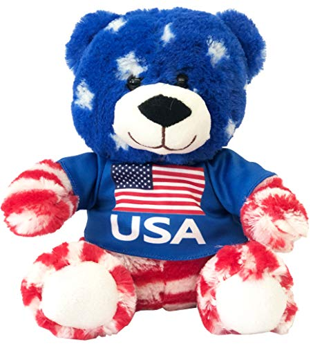 CityDreamShop USA Flag Patriotic Teddy Bear Cute Souvenir Plush Stuffed Animal Doll Featuring American Flag in Multicolor | Perfect Souvenir Gift Collection ()
