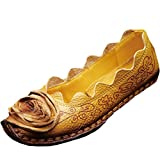 Mordenmiss Women's Fall New Flat Flower Pattern Shoes 40 Style 1-Yellow