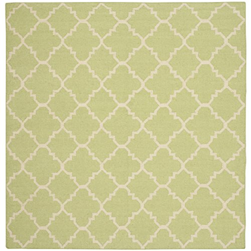 - Safavieh Dhurries Collection DHU554A Hand Woven Light Green and Ivory Premium Wool Square Area Rug (8' Square)