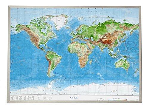 Welt Gross 1 : 53.500.000 mit Aluminiumrahmen