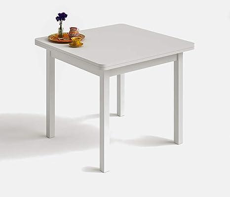 HOGAR 24 Mesa Cuadrada Multiusos Comedor Cocina Dimensiones 90 cm x 90 cm Extensible Libro a 180 cm x 90 cm. Color Blanco