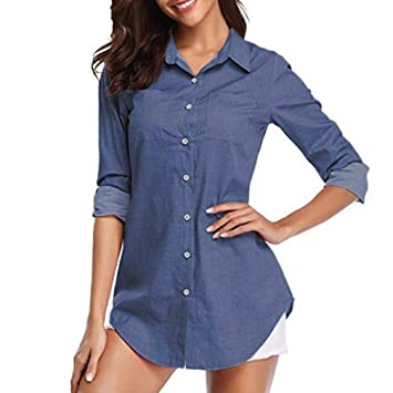 d88944fd7700e Image Unavailable. Image not available for. Color  KFSO Women s Denim Solid  Pocket Button Down Shirt Long ...