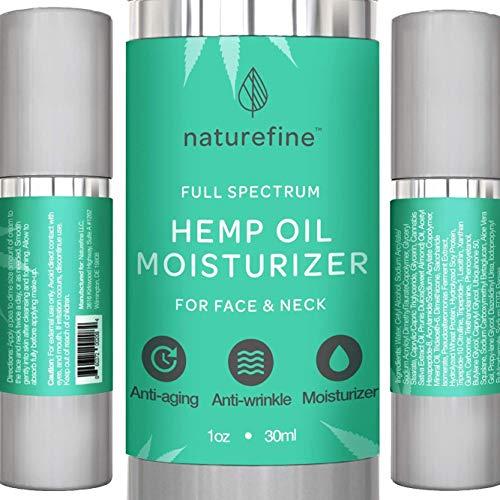 (Hemp Oil Lotion + Face Moisturizer, Full Spectrum Hemp Oil, Zero CBD THC Cannabidiol, Retinol Moisturizer & Anti Aging Cream, Anti Wrinkle Lotion for Face & Neck, Naturefine MADE IN USA)